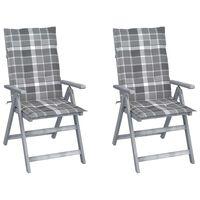 vidaXL Градински накланящи се столове 2 бр с възглавници акация масив