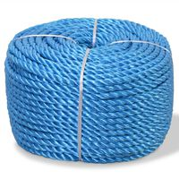 vidaXL Усукано въже, полипропилен, 10 мм, 500 м, синьо