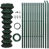 vidaXL Оградна мрежа с колове, стомана, 0,8x15 м, зелена