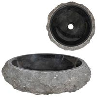 vidaXL Мивка, 40x12 см, мрамор, черна