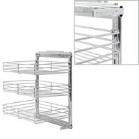 vidaXL 3-етажна издърпваща се кошница за кухня, сребриста, 47x35x56 см