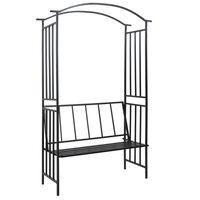 vidaXL Градинска арка с пейка, черна, 128x50x207 см, желязо