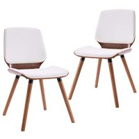 vidaXL Трапезни столове, 2 бр, бели, изкуствена кожа