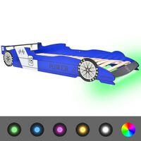"""vidaXL Детско легло """"състезателна кола"""", LED лента, 90x200 cм, синьо"""