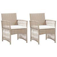 vidaXL Градински кресла с възглавници, 2 бр, бежов полиратан