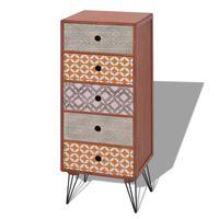 vidaXL Страничен шкаф, с 5 чекмеджета, кафяв