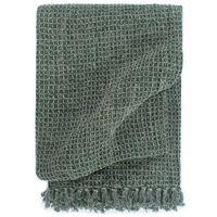 vidaXL Декоративно одеяло, памук, 220x250 см, тъмнозелено