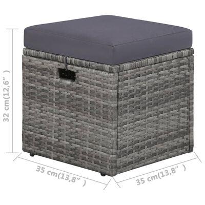 vidaXL Градински комплект с възглавници, 4 части, полиратан, сив