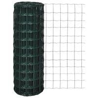 vidaXL Оградна мрежа, стомана, 25 x 1,5 м, зелена