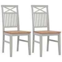 vidaXL Трапезни столове, 2 бр, сиви, дъбова дървесина масив