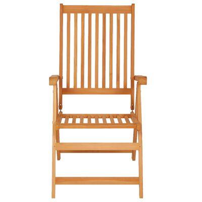 vidaXL Накланящи градински столове с възглавници 8 бр тик масив