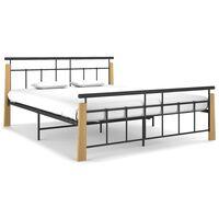 vidaXL Рамка за легло, метал и дъбов масив, 160x200 см