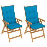 vidaXL Градински столове 2 бр сини възглавници тиково дърво масив
