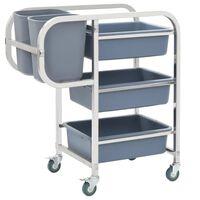 vidaXL Кухненска количка с пластмасови контейнери, 87x43,5x92 см