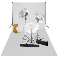 vidaXL Фотографски комплект за студио с лампи, чадъри, фон и рефлектор