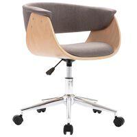 vidaXL Въртящ офис стол, таупе, извито дърво и текстил