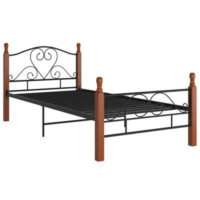 vidaXL Рамка за легло, черна, метал, 100x200 cм