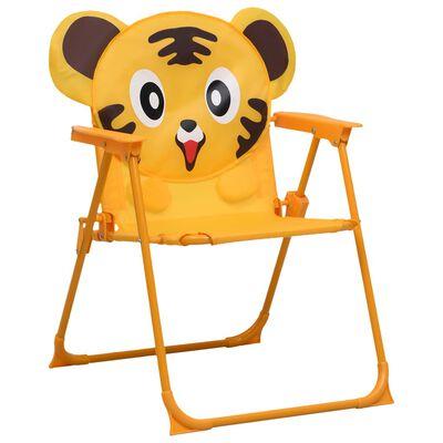 vidaXL Детски градински столове, 2 бр, жълти, текстил