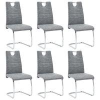 vidaXL Трапезни столове, 6 бр, сиви, изкуствена кожа