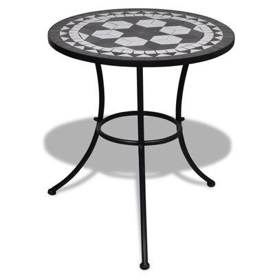 vidaXL Бистро маса, черно и бяло, 60 см, мозайка