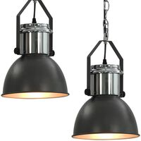 vidaXL Таванни лампи, 2 бр, сиви, кръгли, E27