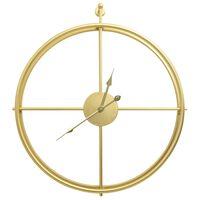 vidaXL Стенен часовник, златист, 52 см, желязо