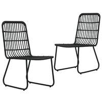 vidaXL Градински столове, 2 бр, полиратан, черни