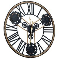 vidaXL Стенен часовник, черен, 70 см, метал