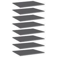 vidaXL Рафтове за етажерка, 8 бр, сив гланц, 60x50x1,5 см, ПДЧ