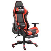 vidaXL Въртящ геймърски стол с подложка за крака, червен, PVC