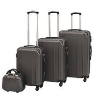 vidaXL Комплект от 4 броя твърди куфари на колелца, антрацитно черно