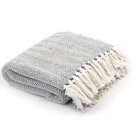 vidaXL Декоративно одеяло, памук, рибена кост, 220x250 см, сиво