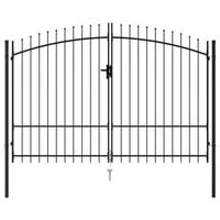 vidaXL Оградна порта две врати с остри върхове стомана 3х1,75 м черна