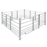 vidaXL 4-панелна кошара за овце, поцинкована стомана, 183 x 183 x 92 см