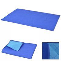 vidaXL Одеяло за пикник, синьо и светлосиньо, 100x150 см