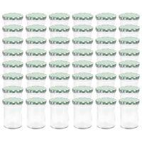 vidaXL Стъклени буркани за сладко с бяло-зелени капачки 48 бр 400 мл
