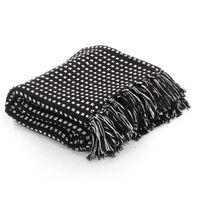vidaXL Декоративно одеяло, памук, каре, 125x150 см, черно