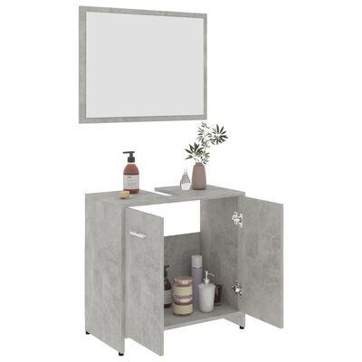 vidaXL Комплект мебели за баня, бетонно сив, ПДЧ
