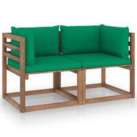 vidaXL Градински 2-местен палетен диван със зелени възглавници бор