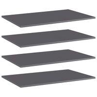 vidaXL Рафтове за етажерка, 4 бр, сив гланц, 80x50x1,5 см, ПДЧ