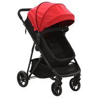 vidaXL Детска/бебешка количка 2-в-1, червено и черно, стомана