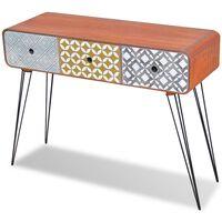 vidaXL Конзолна маса/страничен шкаф с 3 чекмеджета, сиво