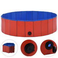 vidaXL Сгъваем басейн за кучета, червен, 120x30 см, PVC