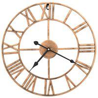 vidaXL Стенен часовник, метал, 40 см, златист