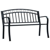 vidaXL Градинска пейка, 125 см, черна, стомана
