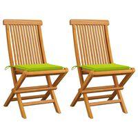 vidaXL Градински столове с яркозелени възглавници 2 бр тик масив