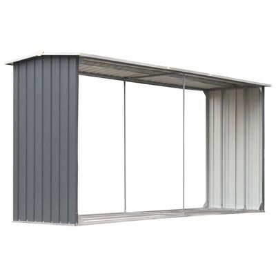 vidaXL Навес за дърва, поцинкована стомана, 330x92x153 см, сив