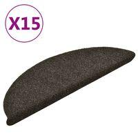 vidaXL Самозалепващи стелки за стъпала 15 бр светлокафяви 56x17x3 см