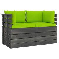 vidaXL Градински 2-местен палетен диван възглавници борово дърво масив
