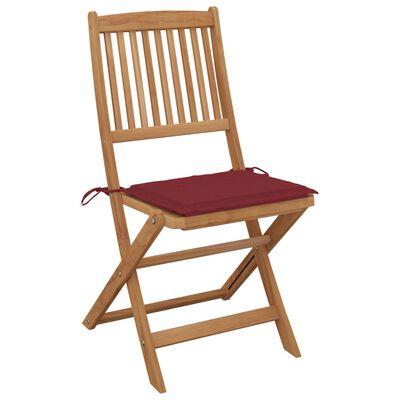 vidaXL Сгъваеми градински столове, 4 бр, с възглавници, акация масив